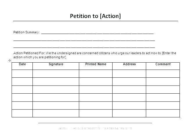 Blank Neighborhood Petition Template