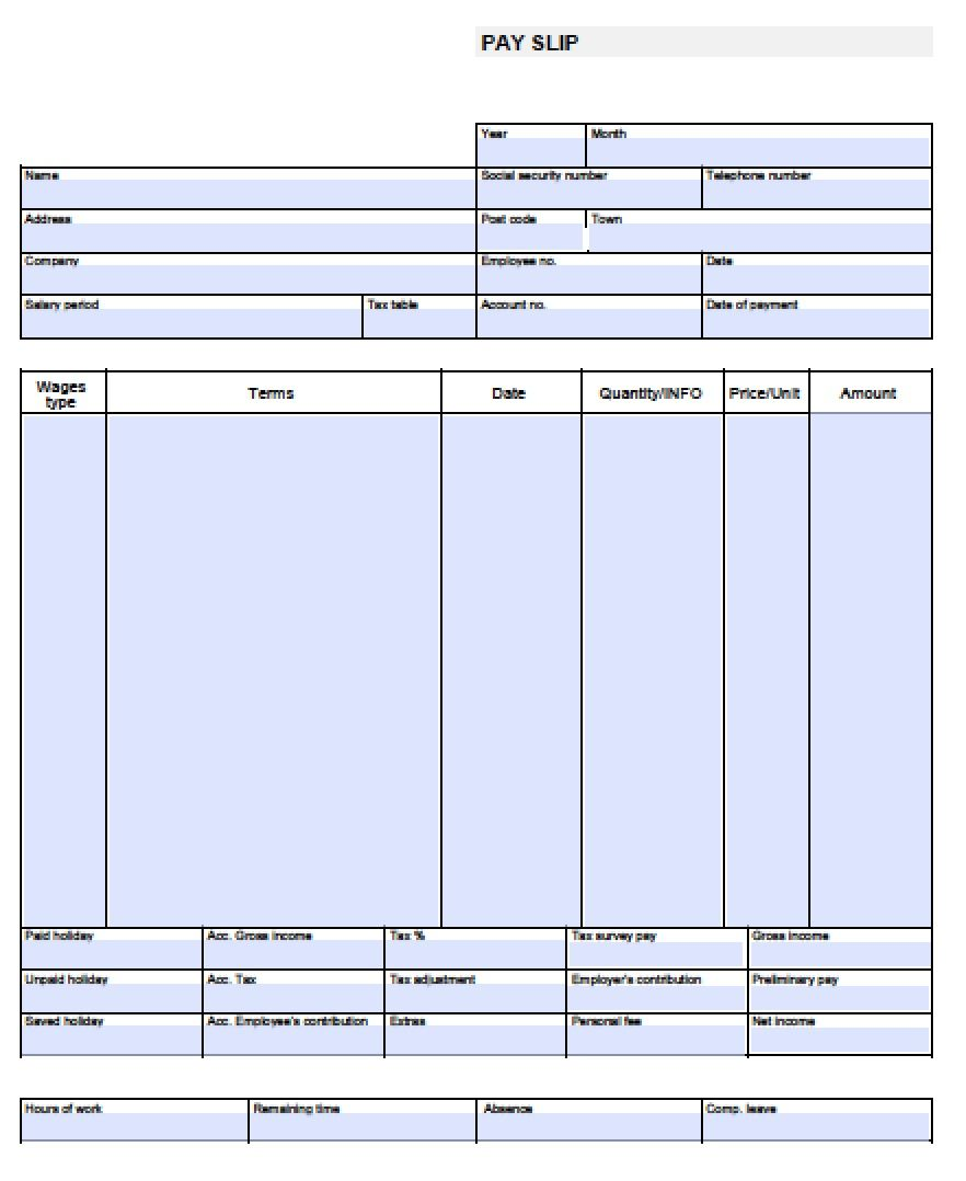 Blank Paycheck Template Free