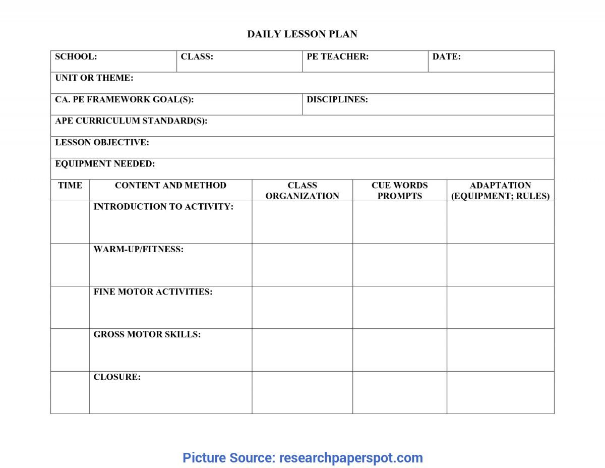 Blank Pe Lesson Plan Template