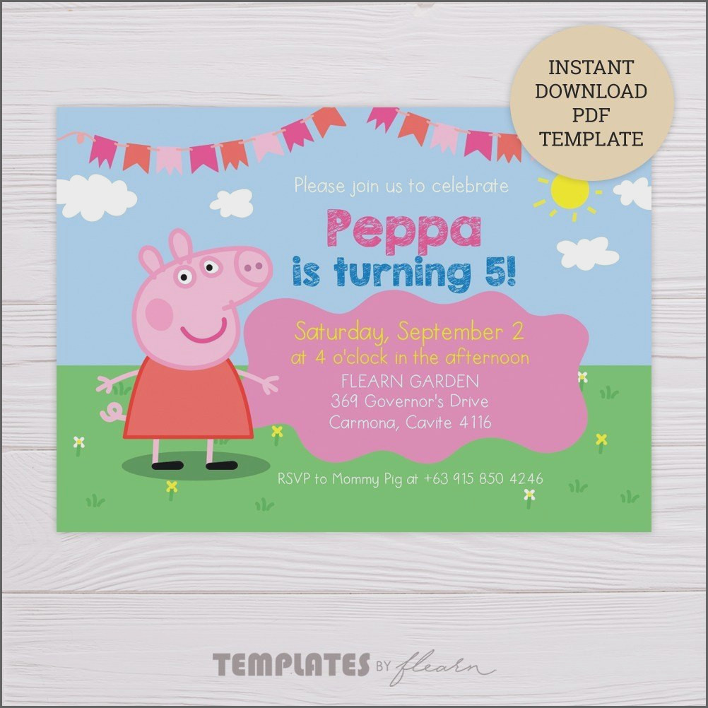 Blank Peppa Pig Invitation Template