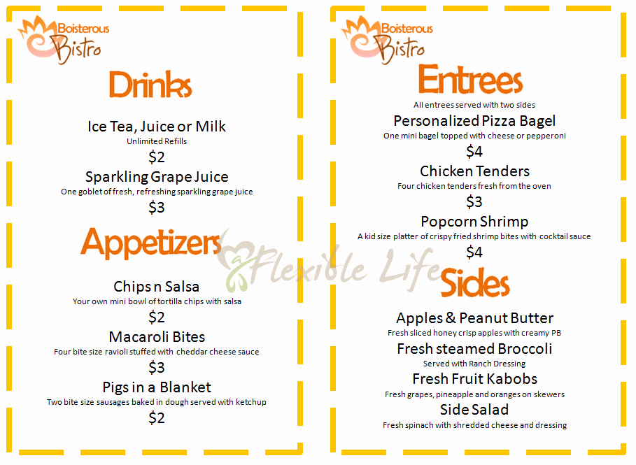Blank Restaurant Menu Template For Kids
