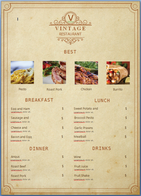 Blank Restaurant Menu Template Word