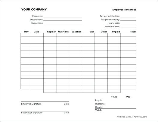 Blank Simple Timesheet Template