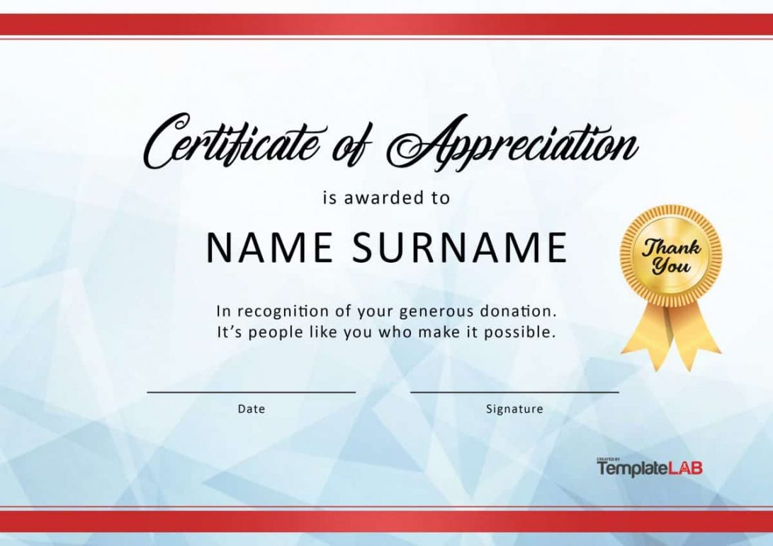 Blank Template For Certificate Of Appreciation