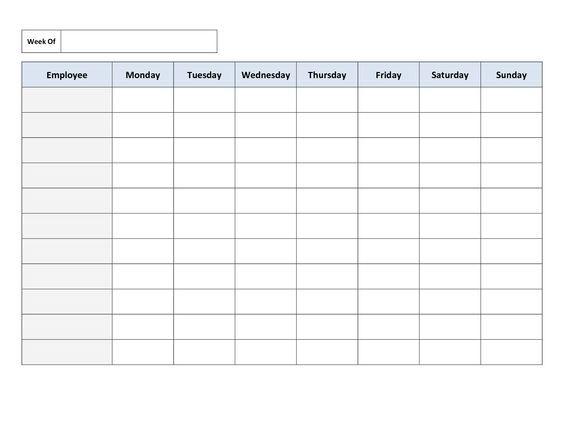Blank Work Schedule Template