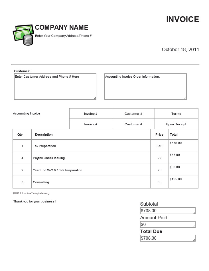 Bookkeeping Invoice Template Free