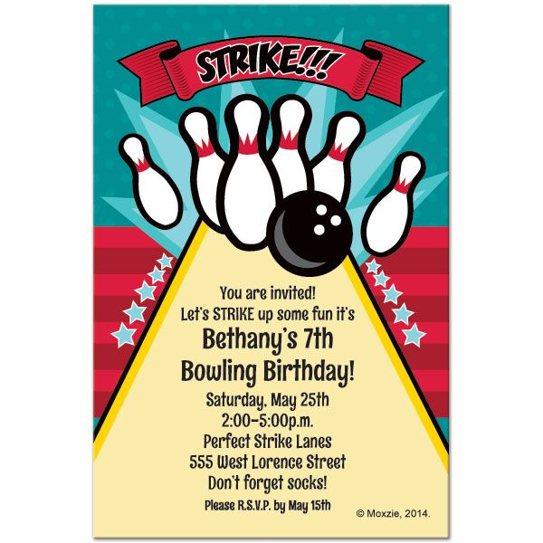 Bowling Birthday Invitation Templates Free