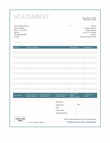 Business Invoice Statement Template