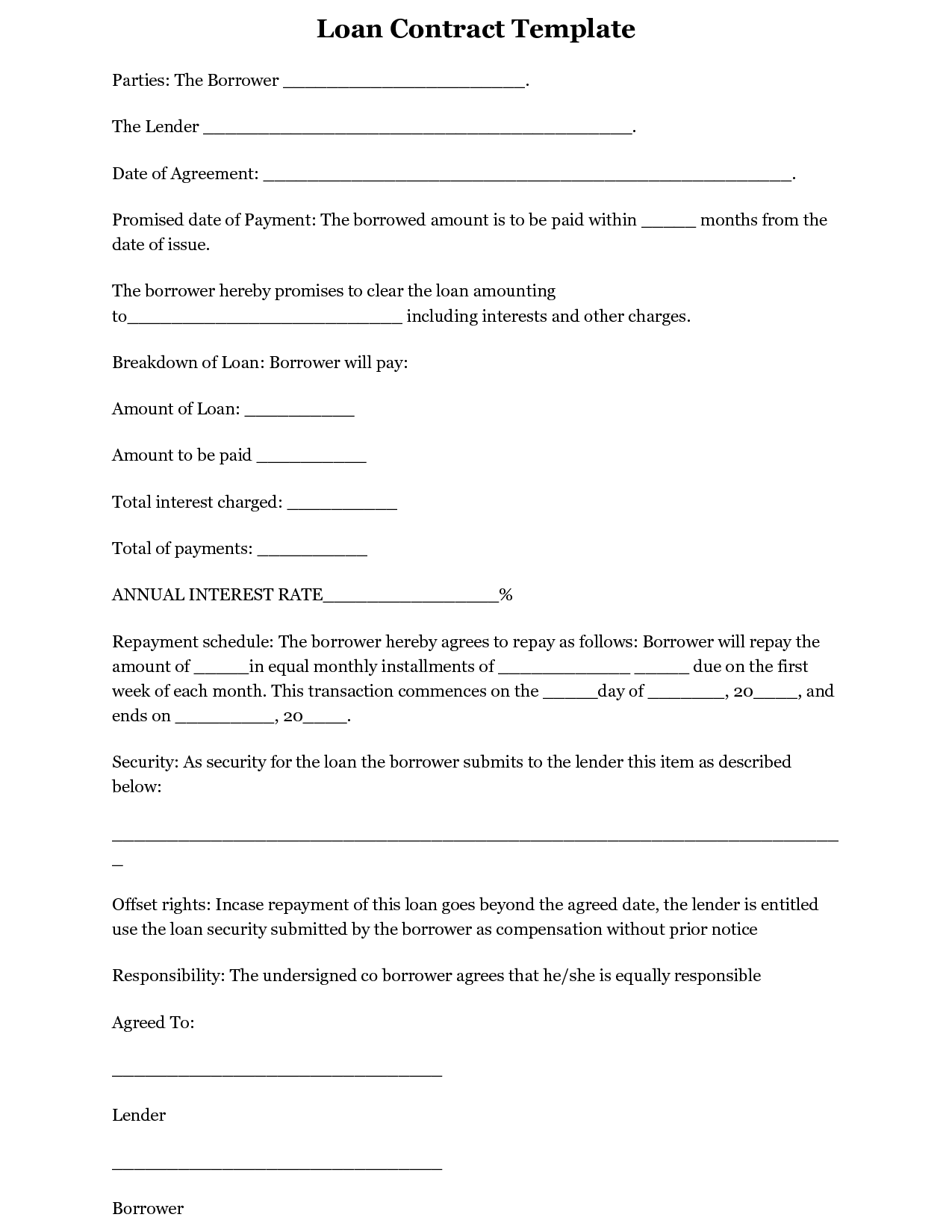 Business Loan Letter Template