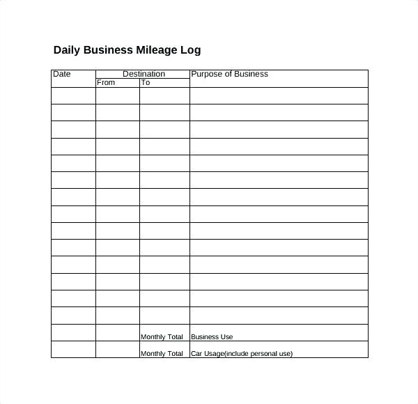Business Mileage Mileage Log Template Google Sheets