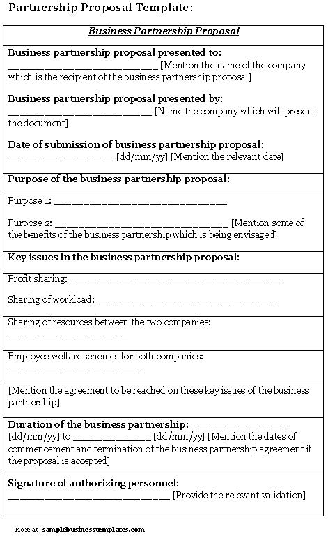 Business Partnership Proposal Template Free
