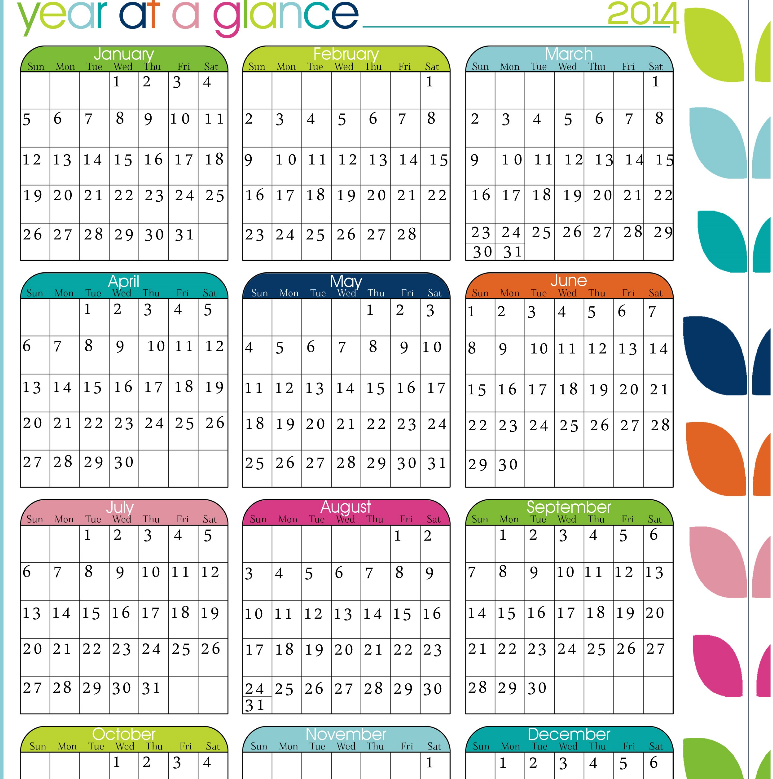 Calendar At A Glance Template
