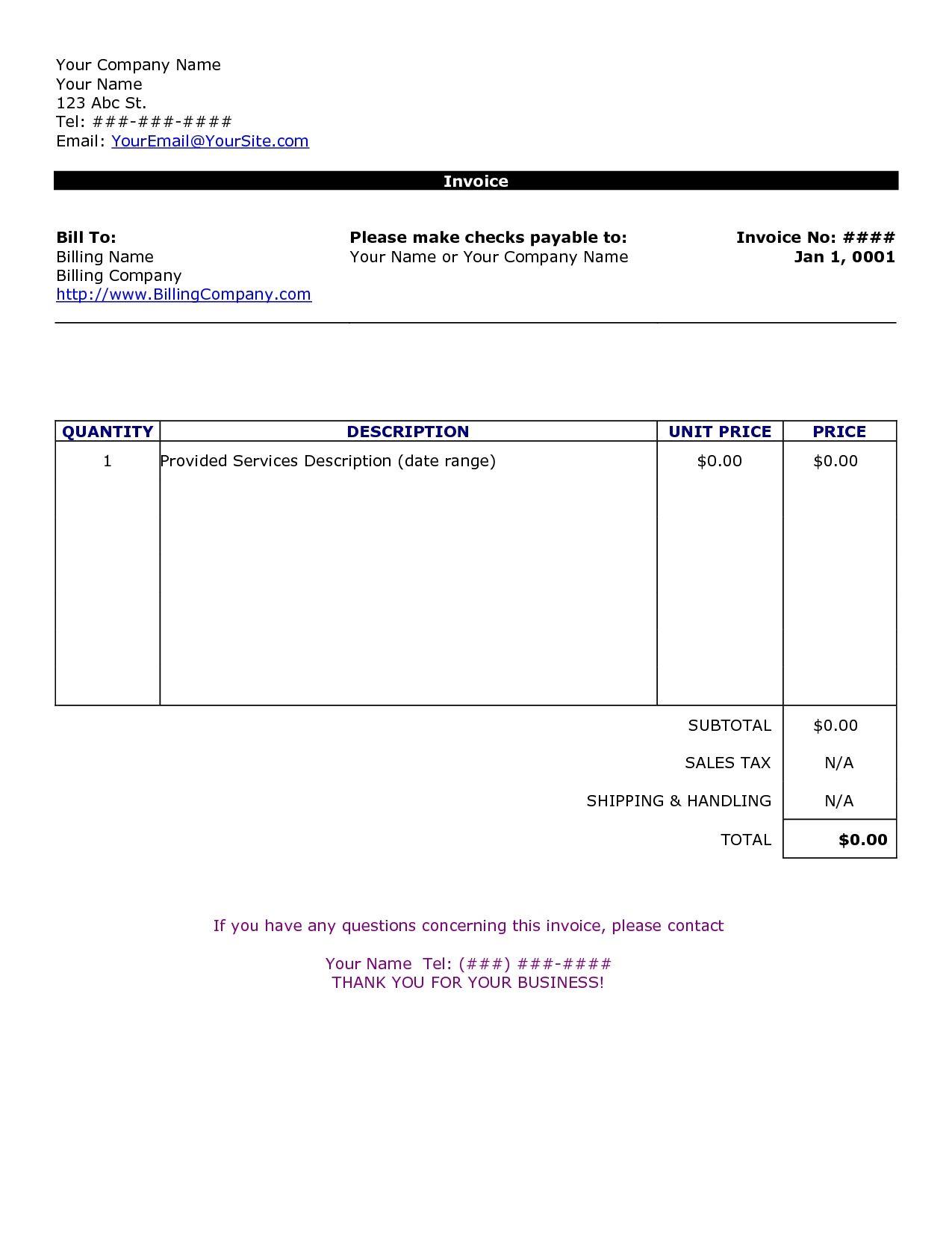 Canada Custom Invoice Template
