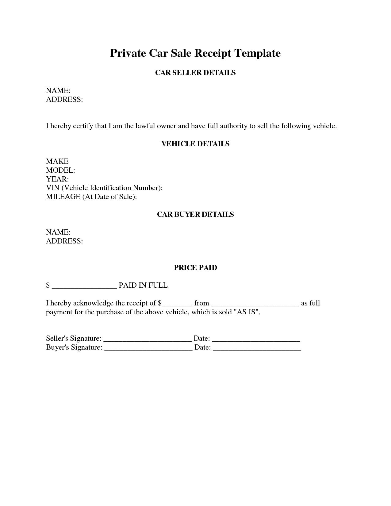 Car Sale Receipt Template Qld Pdf