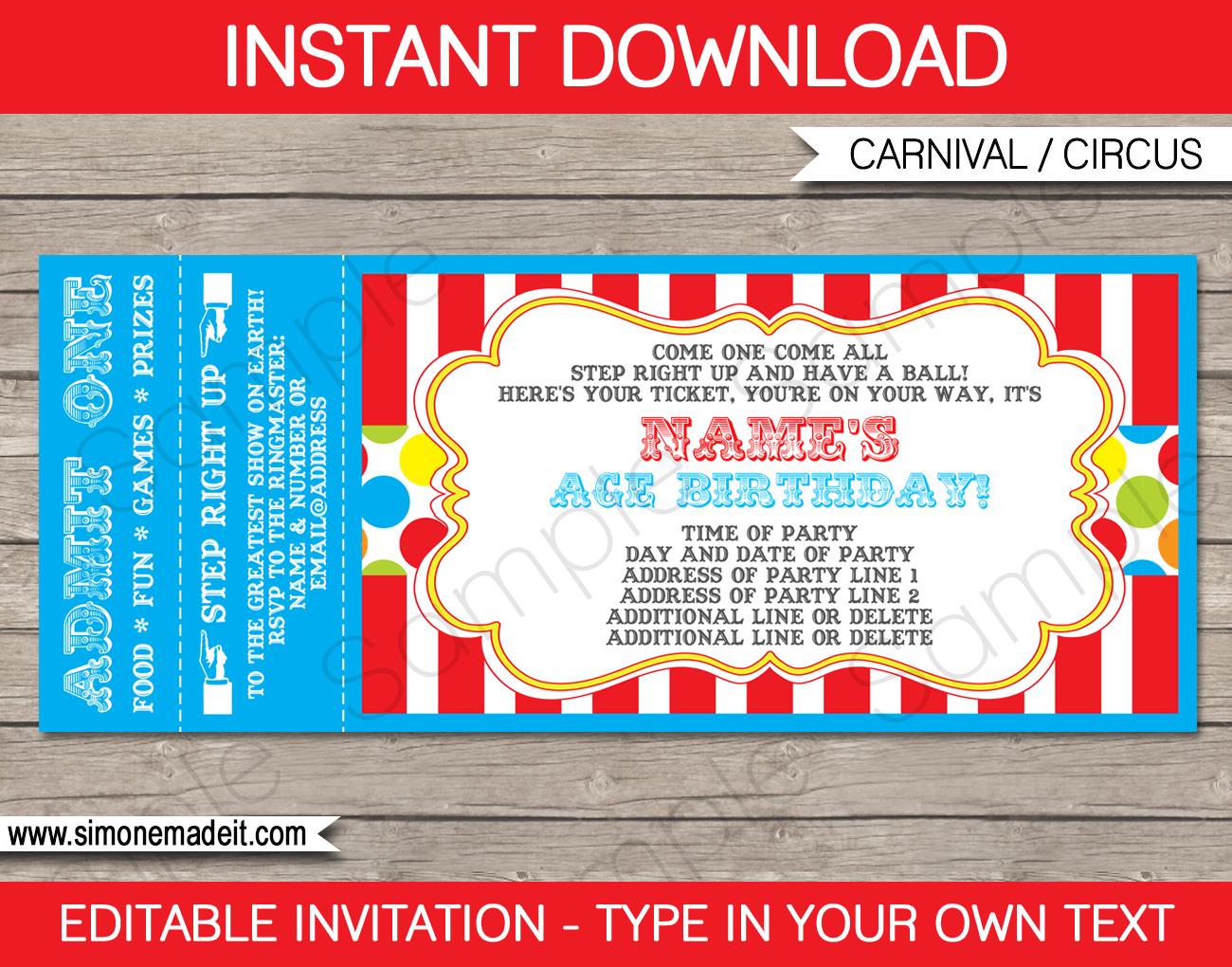 Carnival Ticket Invitation Template