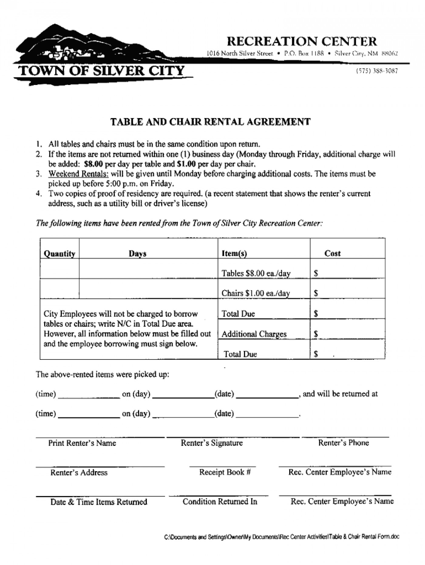 Chair Rental Agreement Template