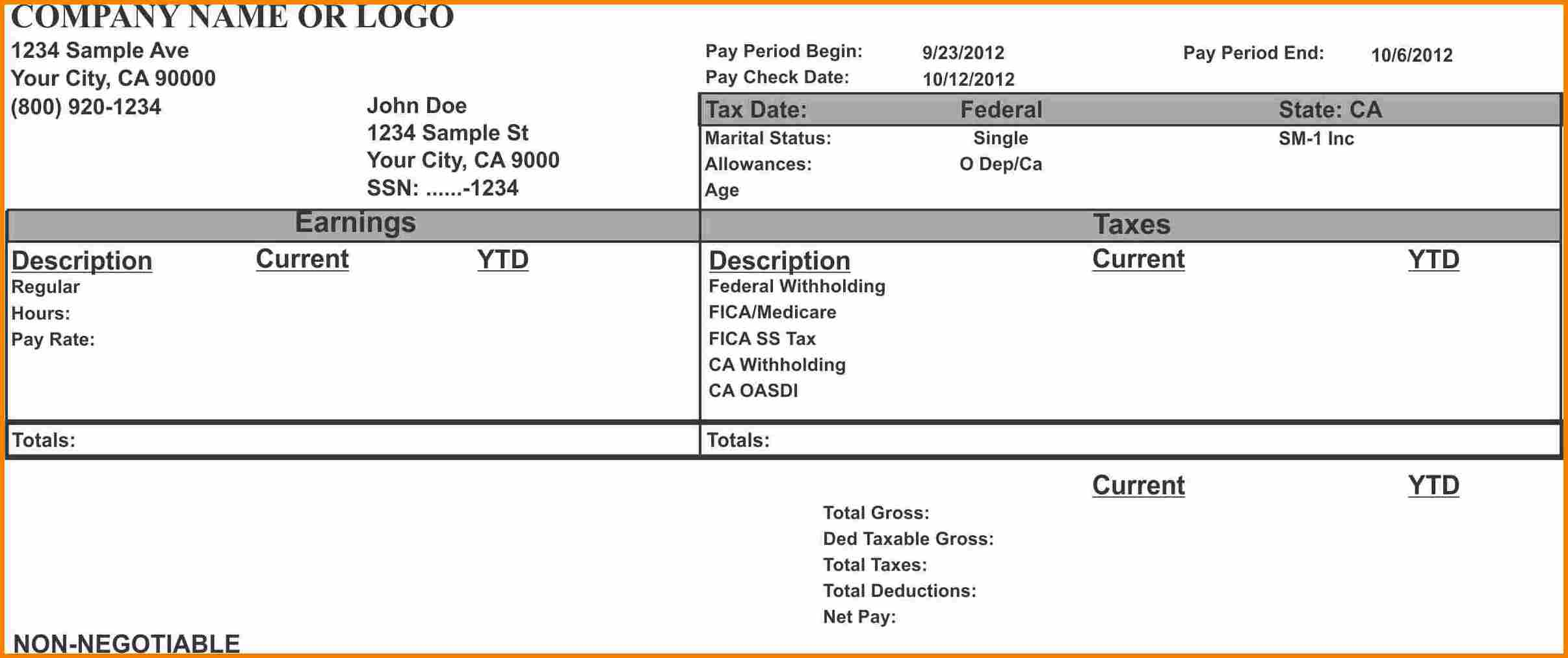 Check Stub Printable Pay Stub Template