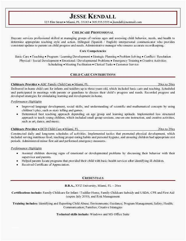 Child Care Provider Resume Most Effective Childcare Provider Resume