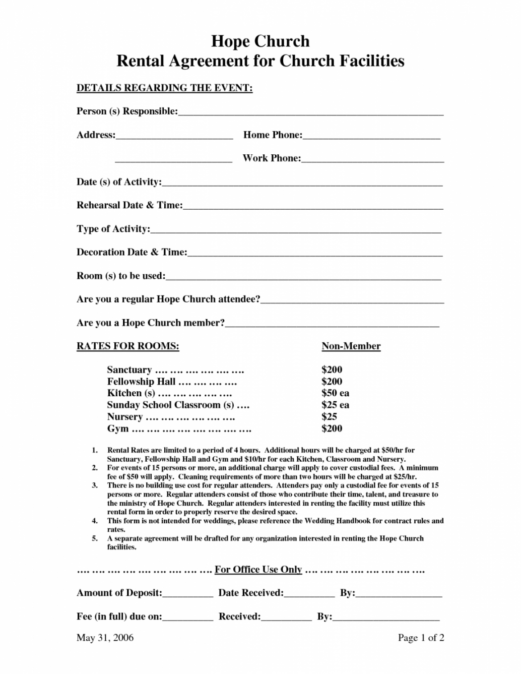 Printable Church Facility Rental Agreement Template Church Rental Agreement Template Sample