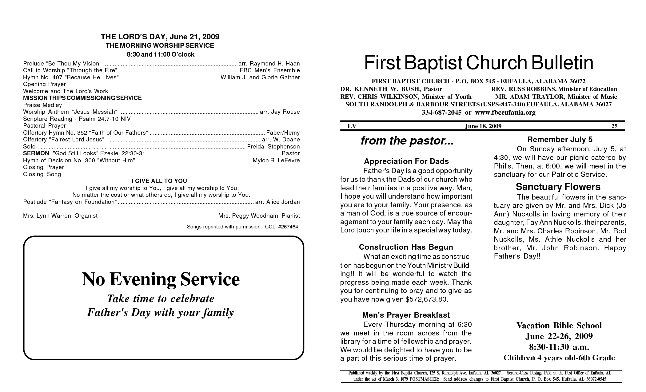 Church Service Bulletin Template