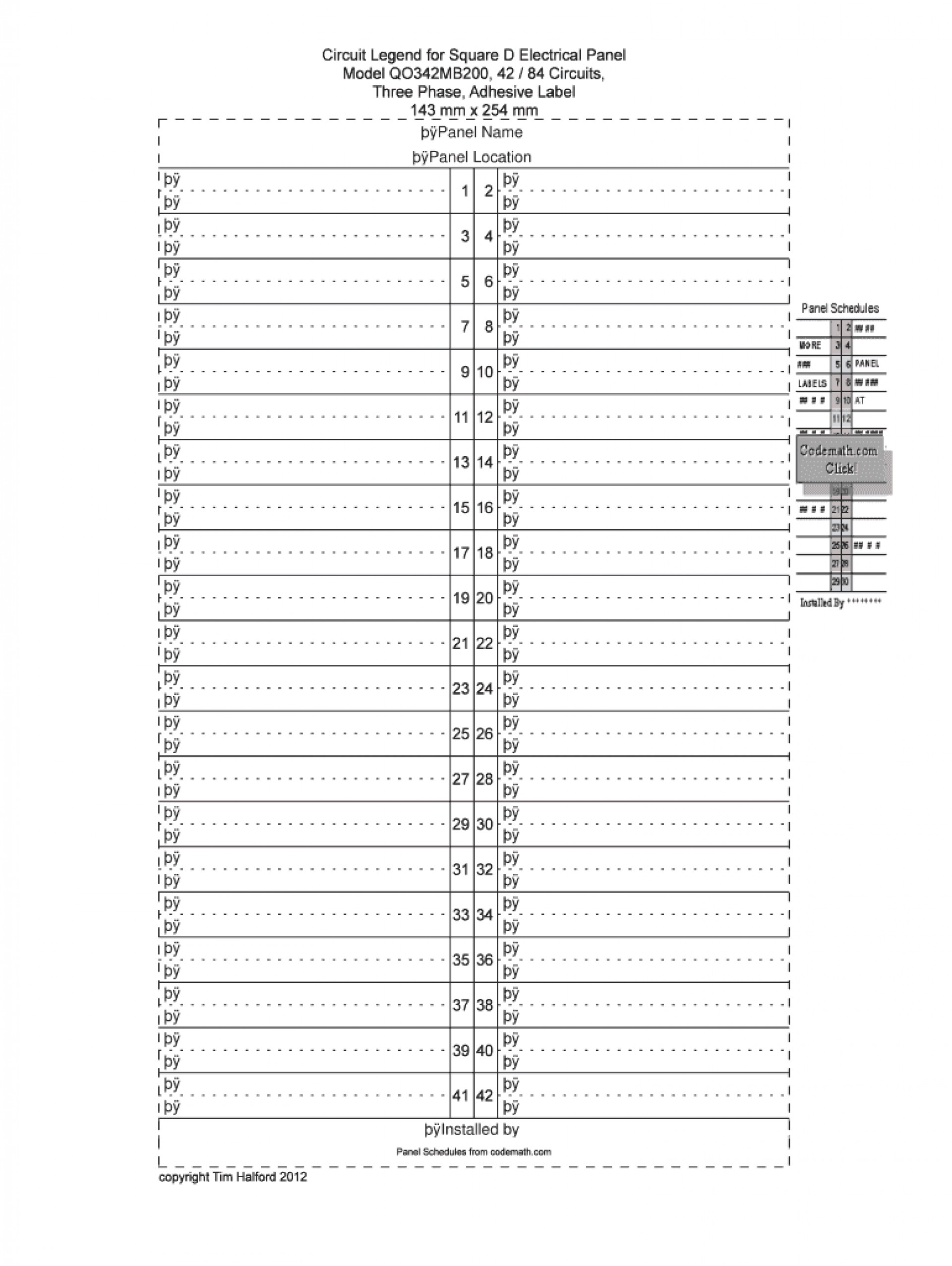Circuit Breaker Box Label Template Excel