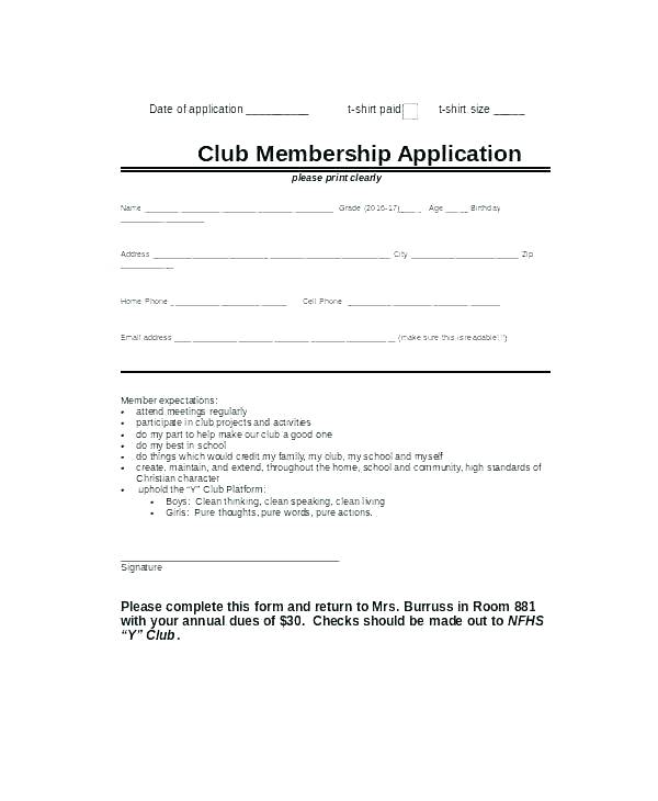 Club Registration Form Template Word