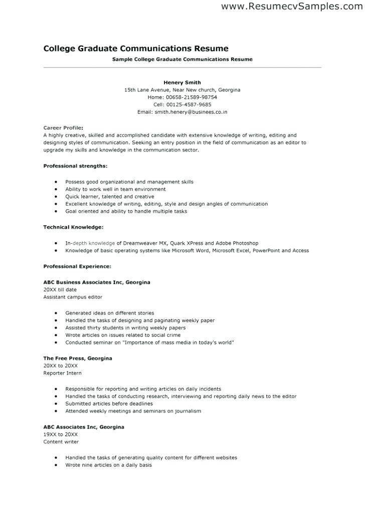 College Application Resume Templates