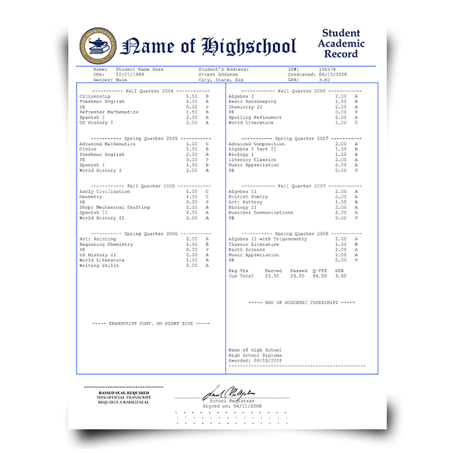College Transcripts Template For Free