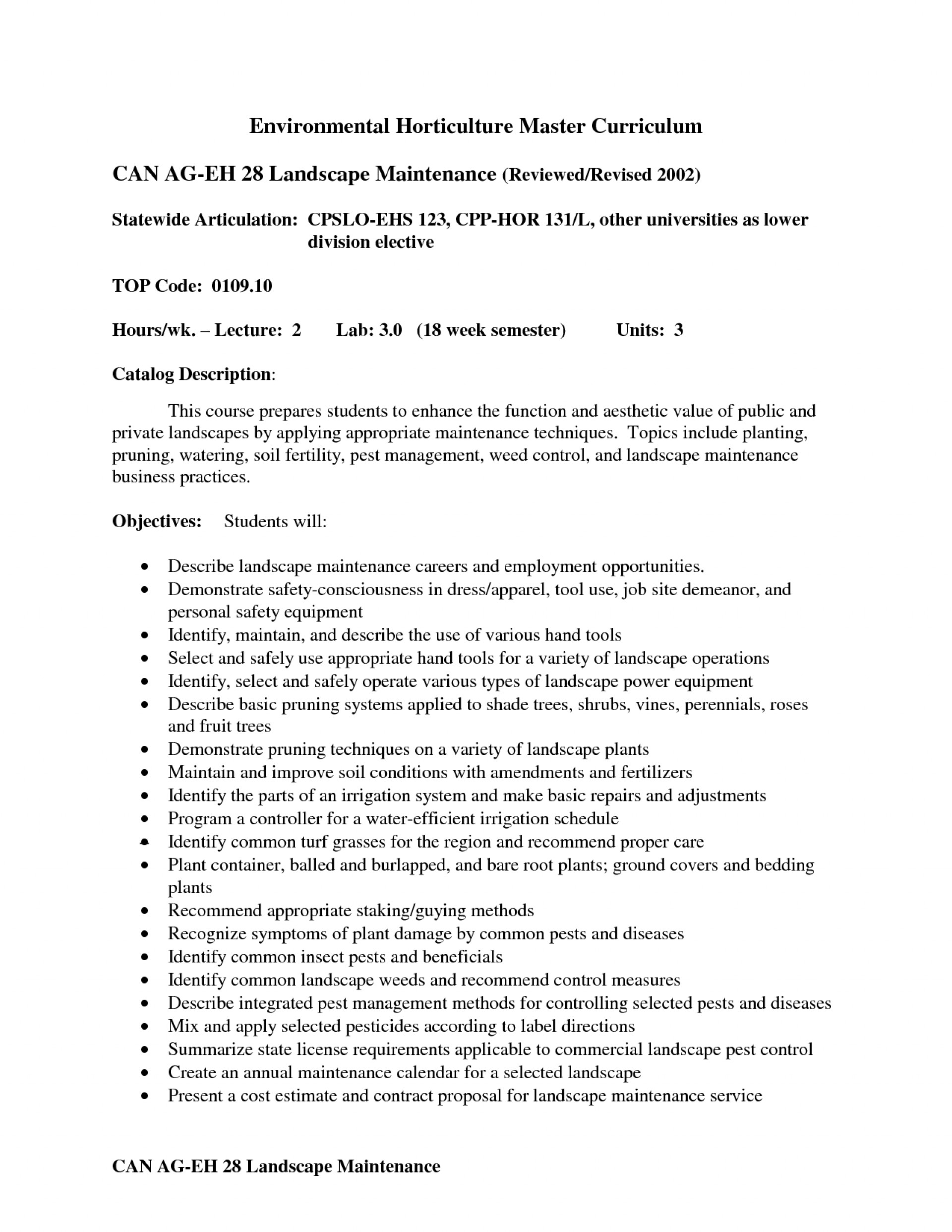 Commercial Landscape Maintenance Contract Template