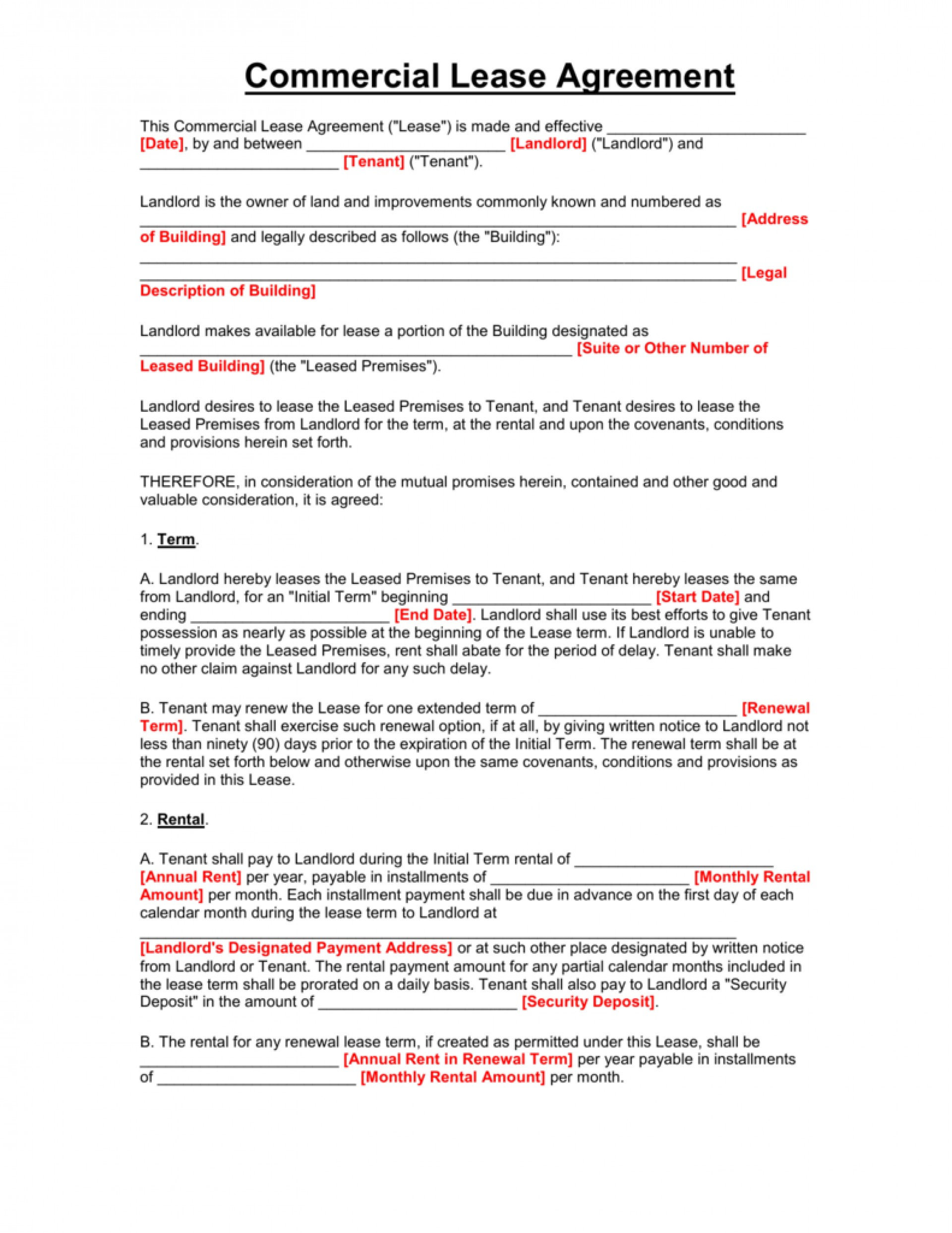 Commercial Rental Agreement Template Uk