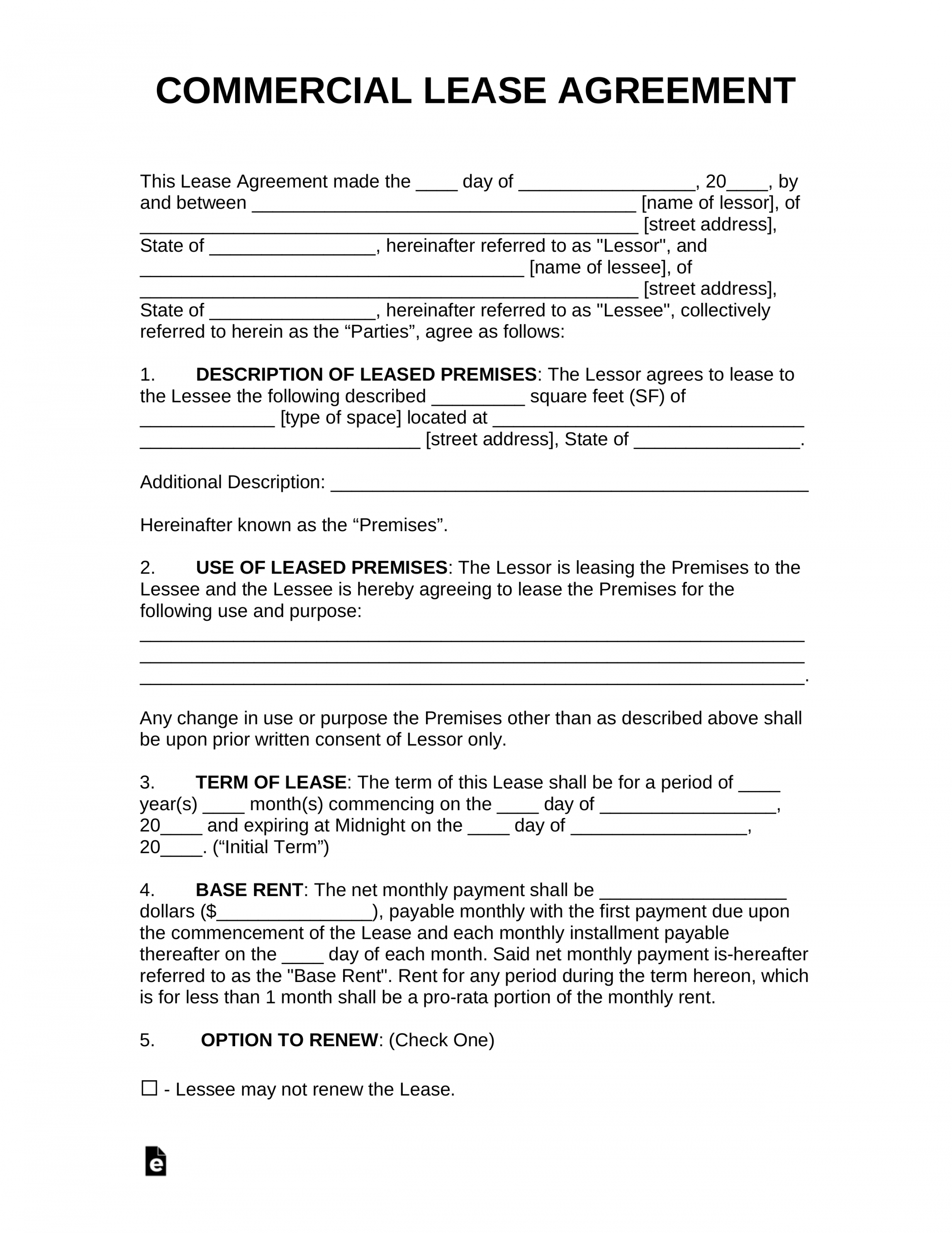 Free Free Commercial Rental Lease Agreement Templates Pdf Office Rental Lease Agreement Template Sample