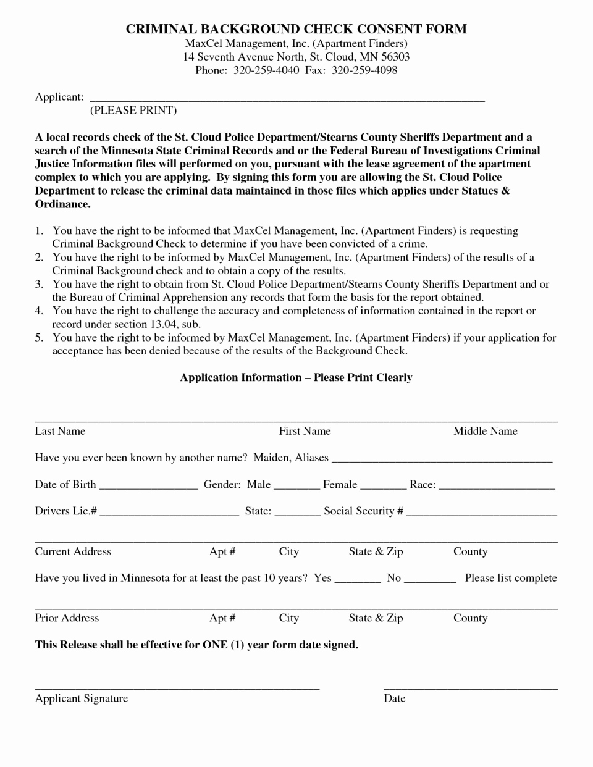 Consent Background Check Authorization Form Template