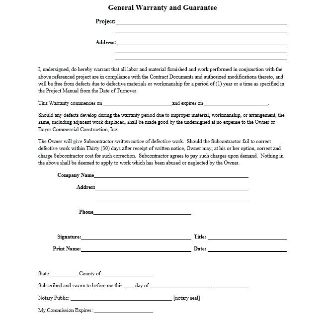 Construction Warranty Form Builders Warranty Template