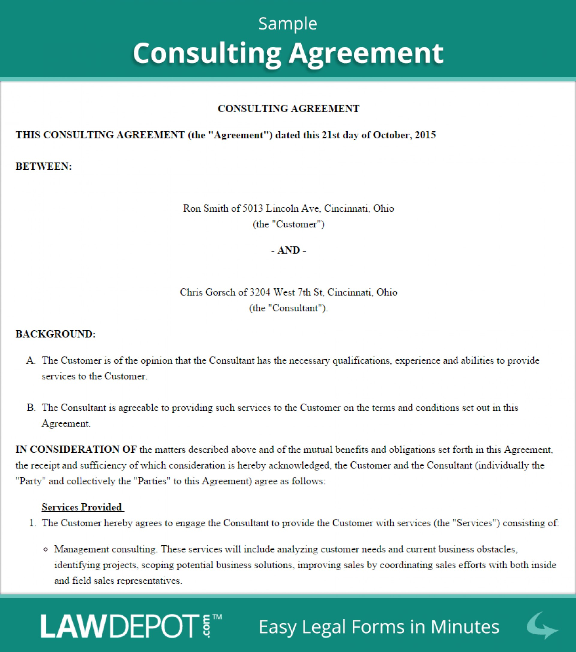 Consulting Agreement Sample Consulting Contract Template