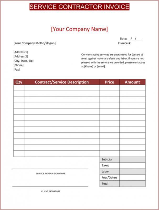 Contractor Template Invoice