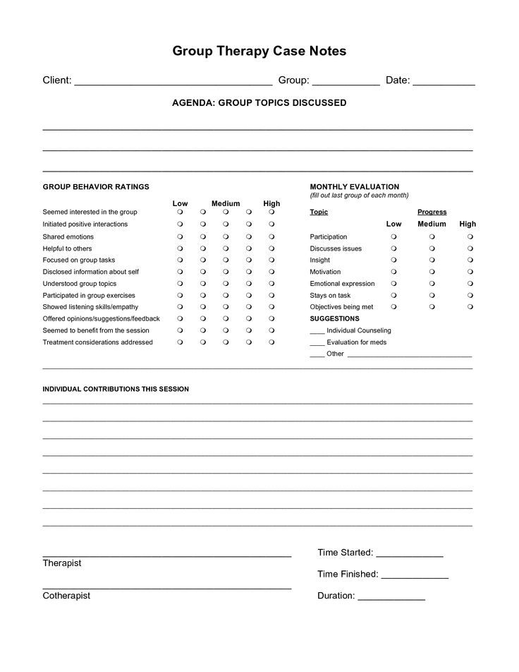 Counseling Psychotherapy Progress Notes Template