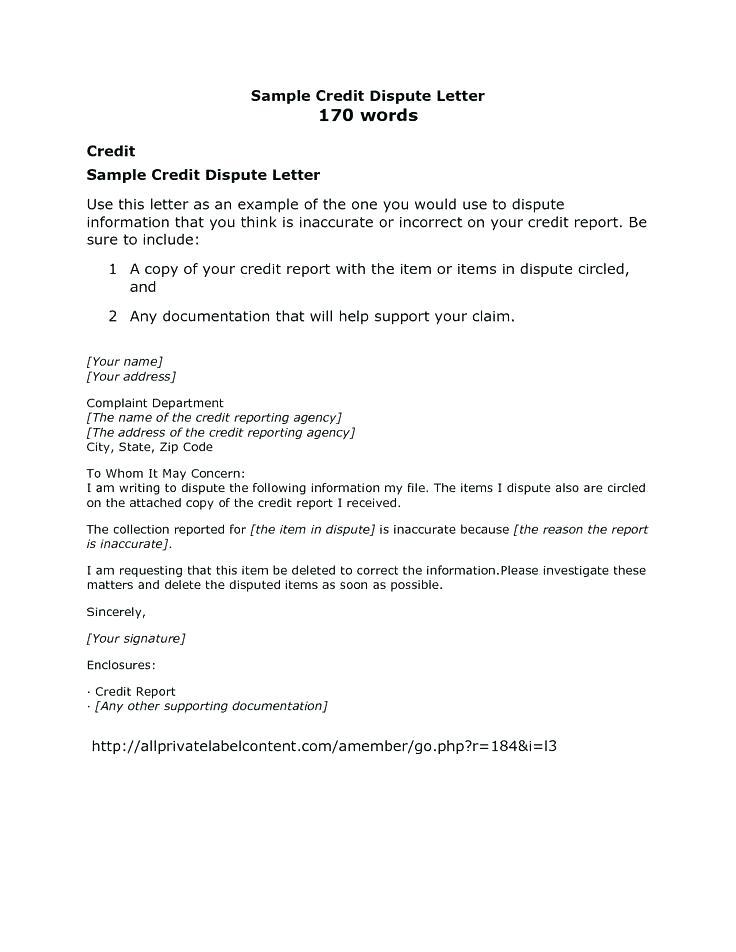 Credit Bureau Credit Dispute Letter Template Pdf
