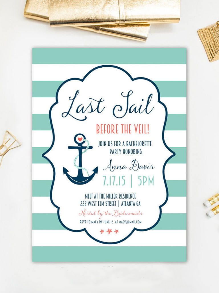 14 Diyable Bachelorette Party Invitation Templates Nautical Theme Throughout Sizing 768 X 1024