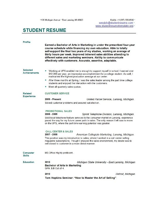 Cv Template For College Students Uk