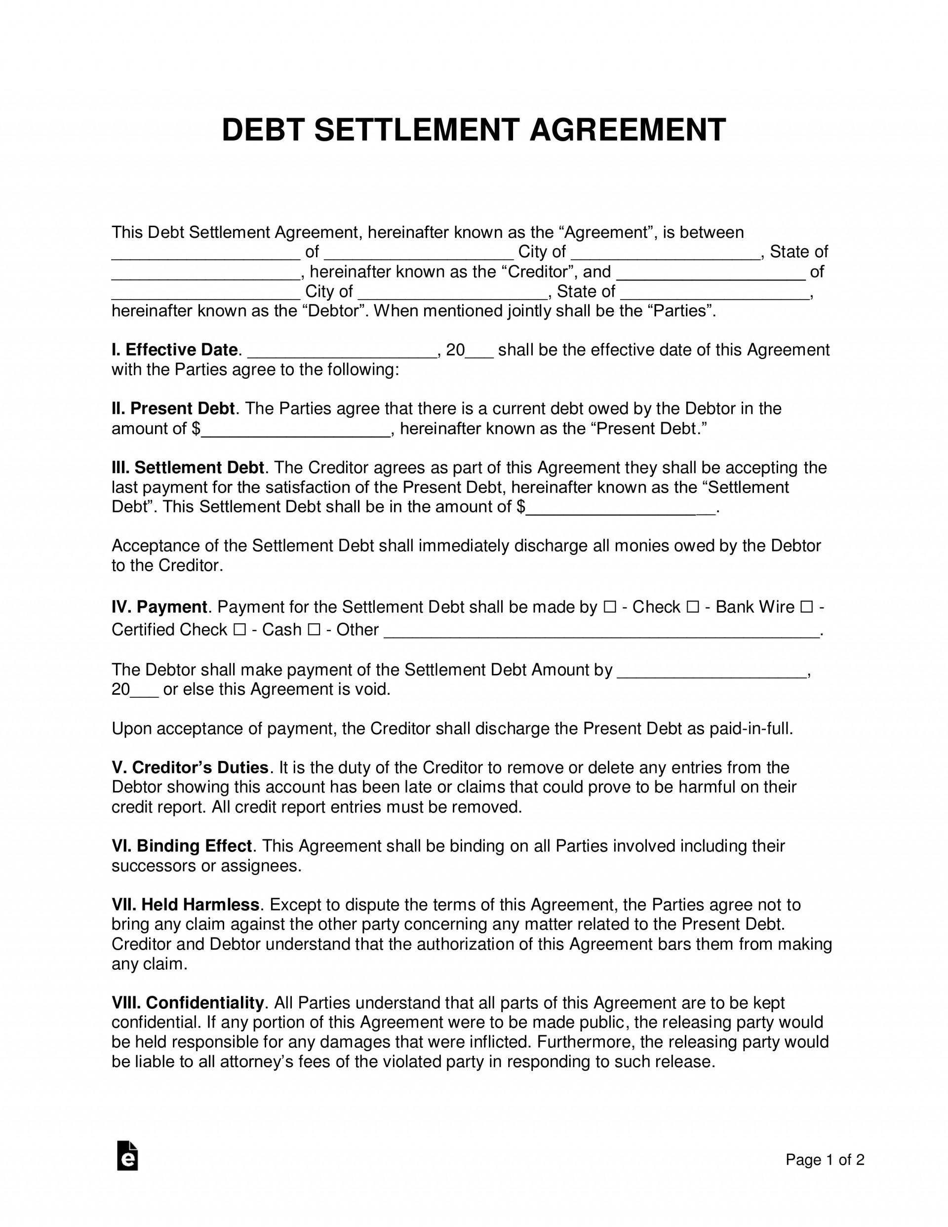 Debt Settlement Agreement Template Uk