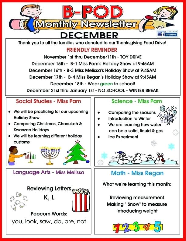 December Daycare Newsletter Template