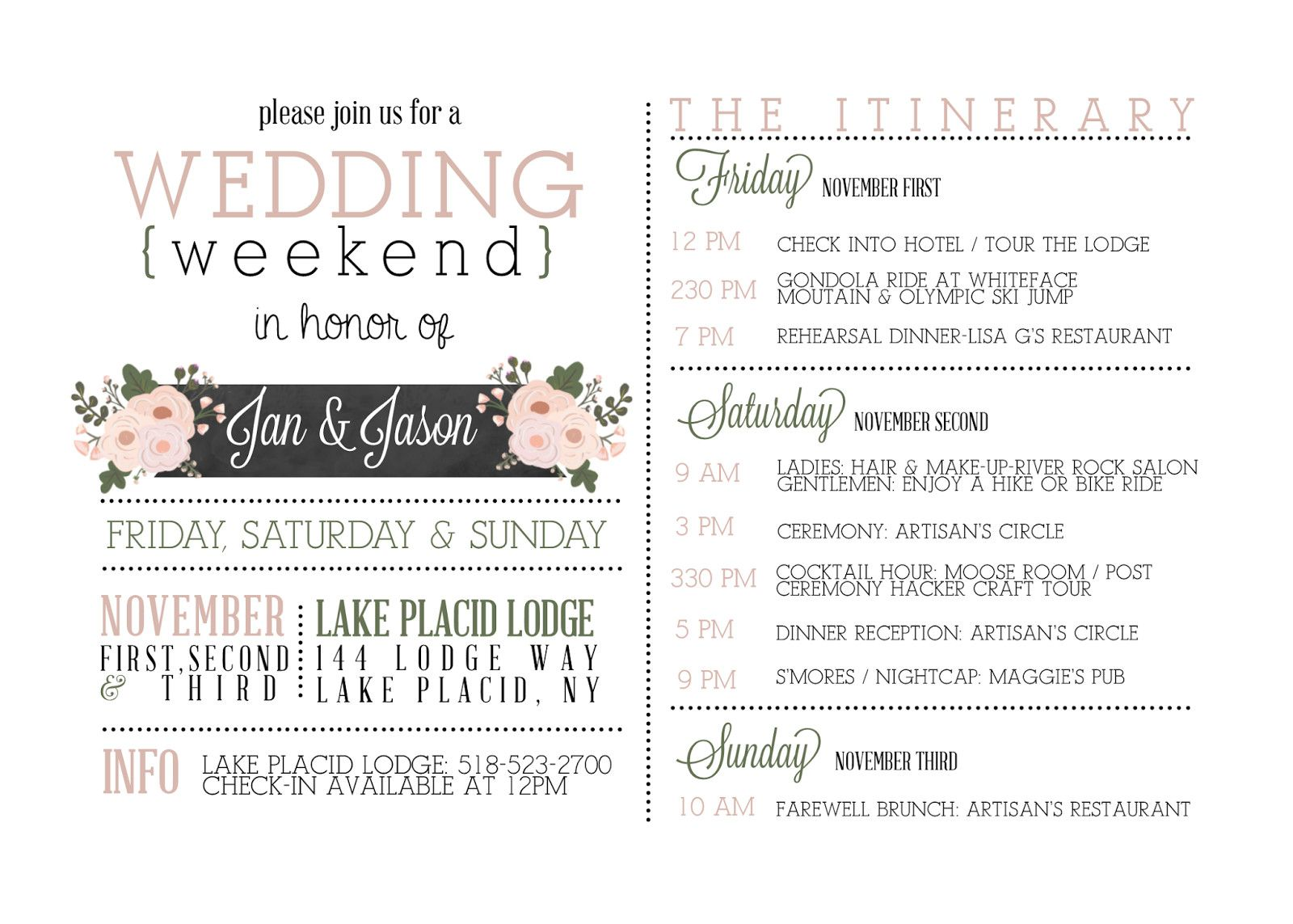 Destination Wedding Itinerary Template Free