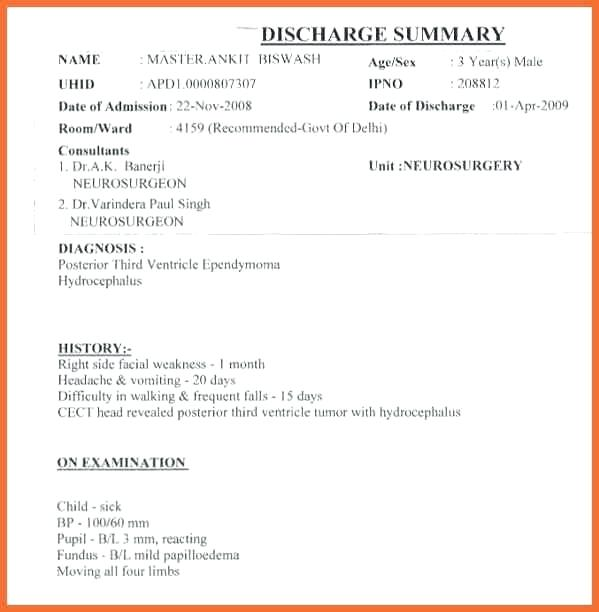 Discharge Summary Hospital Discharge Template