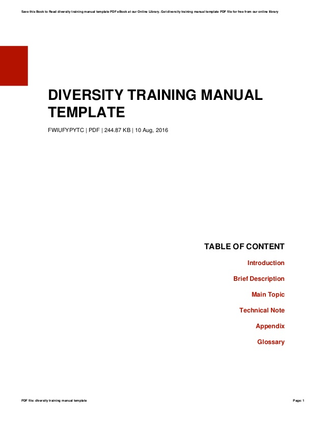 Diversity Training Manual Template
