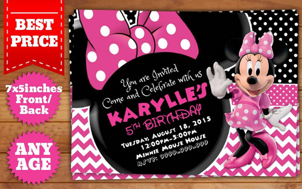 Downloadable Minnie Mouse Birthday Invitation Template