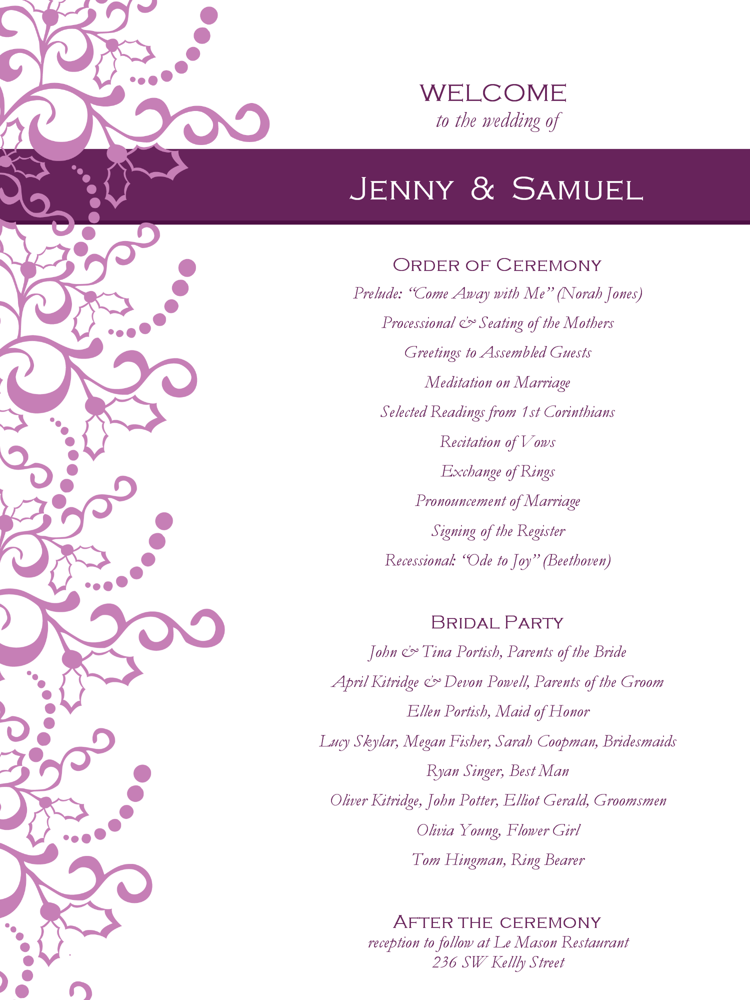Downloadable Wedding Reception Program Template Free