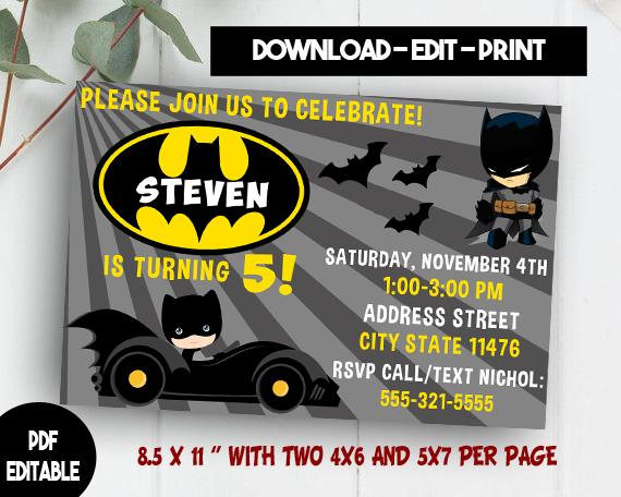 Editable Batman Invitation Template