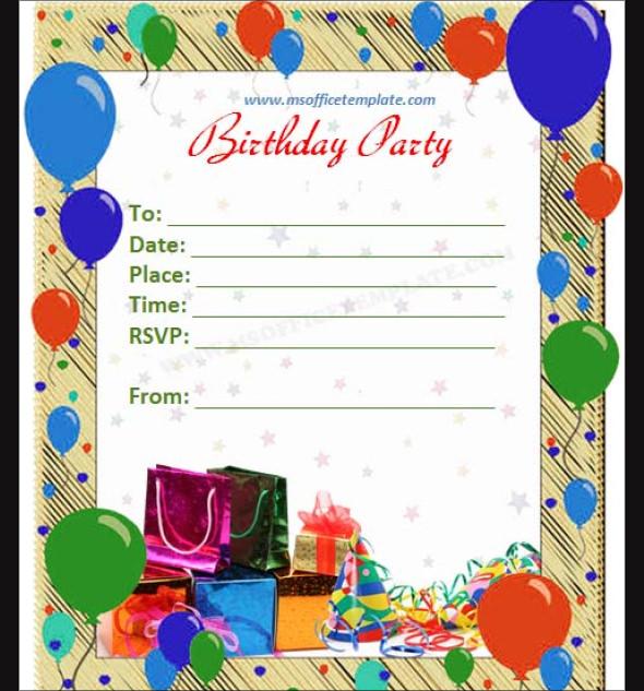 Editable Birthday Invitation Templates Word