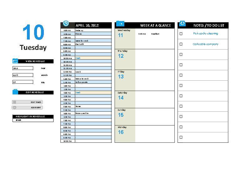 Editable Daily Work Schedule Template
