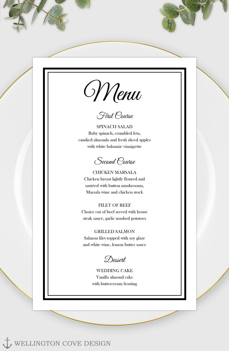 Editable Free Menu Templates For Word